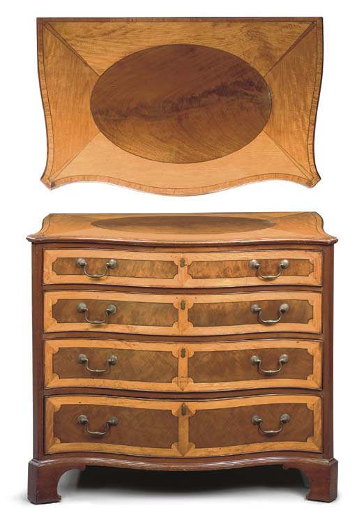 A GEORGE III SATINWOOD AND MAHOGANY SERPENTINE CHEST