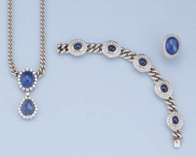 A SAPPHIRE AND DIAMOND SUITE O