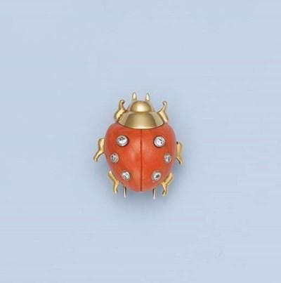 A CORAL AND DIAMOND LADYBIRD C