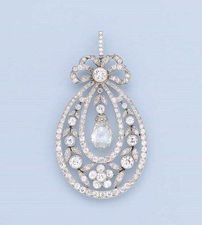 A BELLE EPOQUE DIAMOND PENDANT
