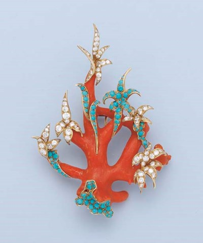 A CORAL, TURQUOISE AND DIAMOND