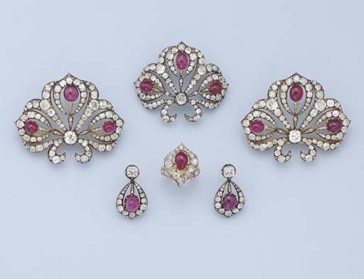 AN IMPORTANT SUITE OF RUBY AND DIAMOND JEWELLERY