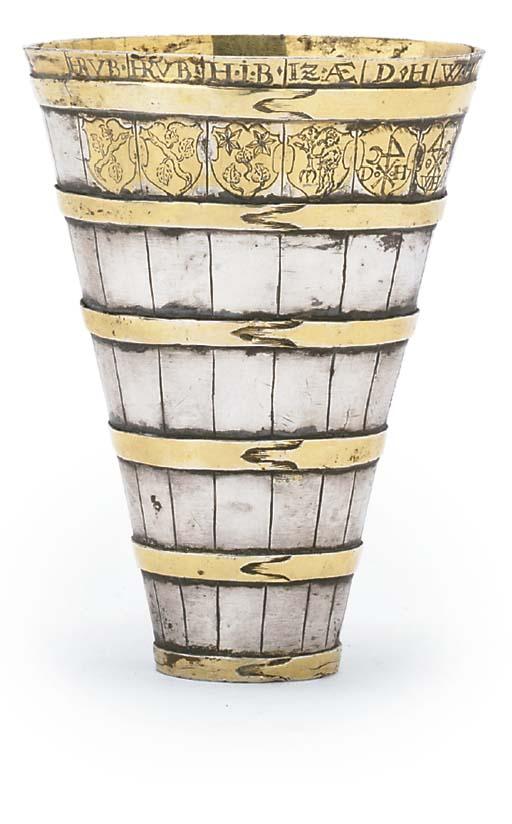 A SWISS PARCEL-GILT SILVER BASKET FROM A BÜTTENMANN FIGURE