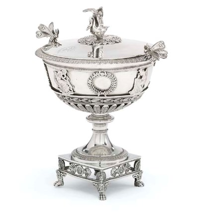 A FRENCH SILVER BOWL AND COVER