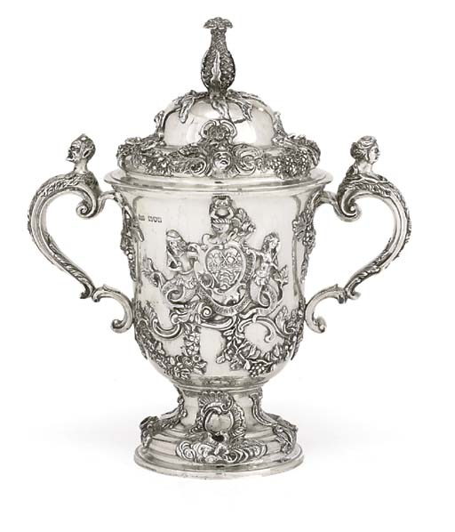 A LATE VICTORIAN SILVER CUP AND COVER
