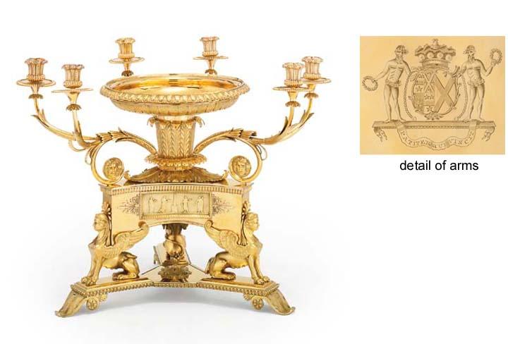 A GEORGE III SILVER-GILT CANDLEABRUM CENTREPIECE