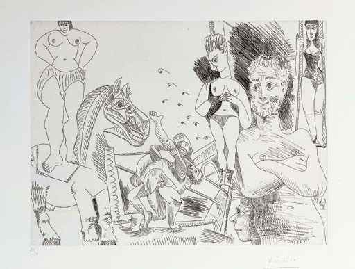 Pablo Picasso (1881-1973), Cirque et Catch, from Séries 347 (B. 1505; Ba. 1521 Bb1). Etching, 1968, on wove, signed in pencil, numbered 2950 (there were also 17 artists proofs), published by Galerie L. Leiris, Paris, 1969. Print 31 x 41.5 cm. Sheet 45.2 x 56.5 cm. Sold for £11,400 on 29 March 2006 at Christie's in London. Artwork © Succession PicassoDACS, London 2019