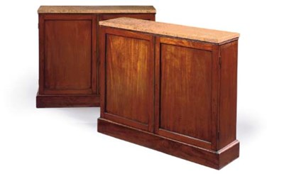 A PAIR OF MAHOGANY SIDE CABINE