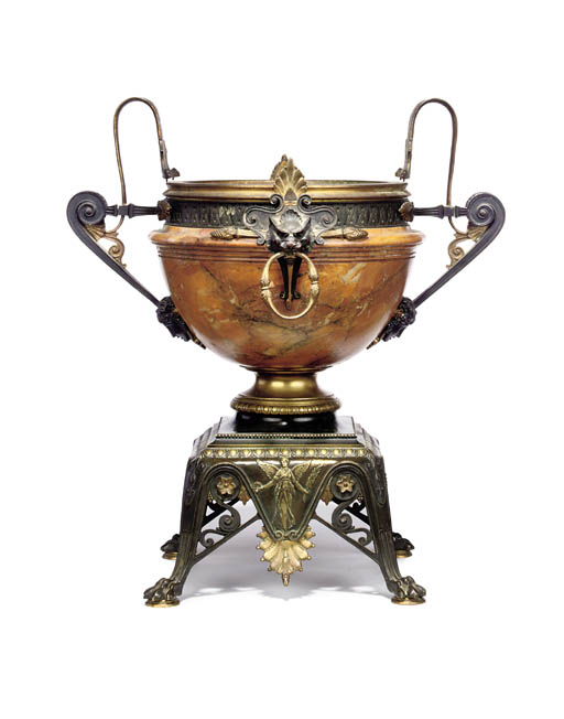 A Neo-Grec Jaune de Sienne marble, ormolu and patinated bronze urn