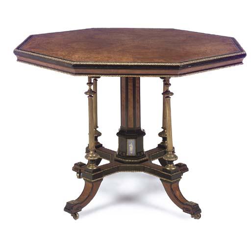 An English ormolu and jasperware-mounted ivory-crossbanded walnut, burr-walnut, ebony and ebonised octagonal centre-table