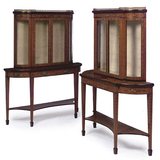 A pair of Adam Revival painted satinwood demilune console-vitrines