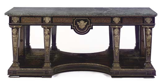 A French ormolu-mounted, cut-brass and faux-tortoiseshell-inlaid ebony and ebonised 'Boulle' console-table