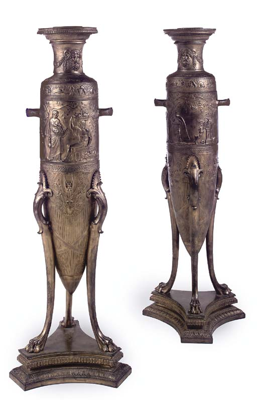 A pair of large French Neo-Grec ormolu amphora-shaped vases
