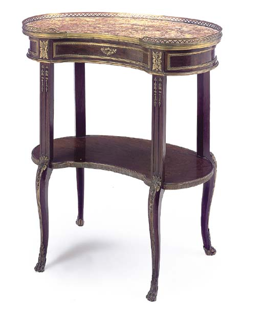 A Transitional style ormolu-mounted mahogany kidney-shaped occasional table