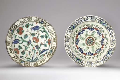 TWO IZNIK POTTERY DISHES