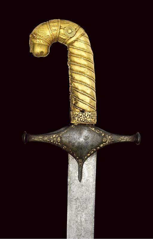A GOLD HILTED SWORD (SHAMSHIR)