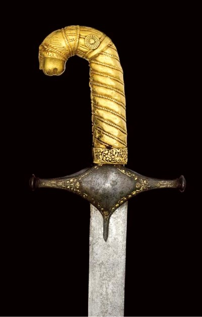 A GOLD HILTED SWORD (SHAMSHIR)