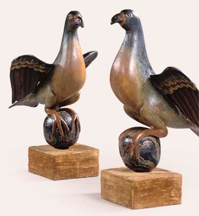 A PAIR OF POLYCHROME-CARVED WO