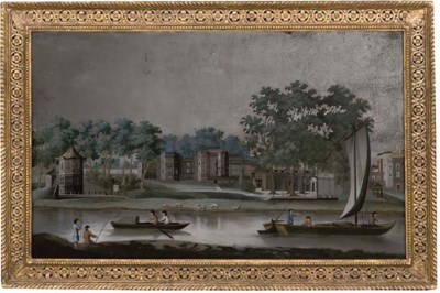A CHINESE-EXPORT MIRROR PAINTI
