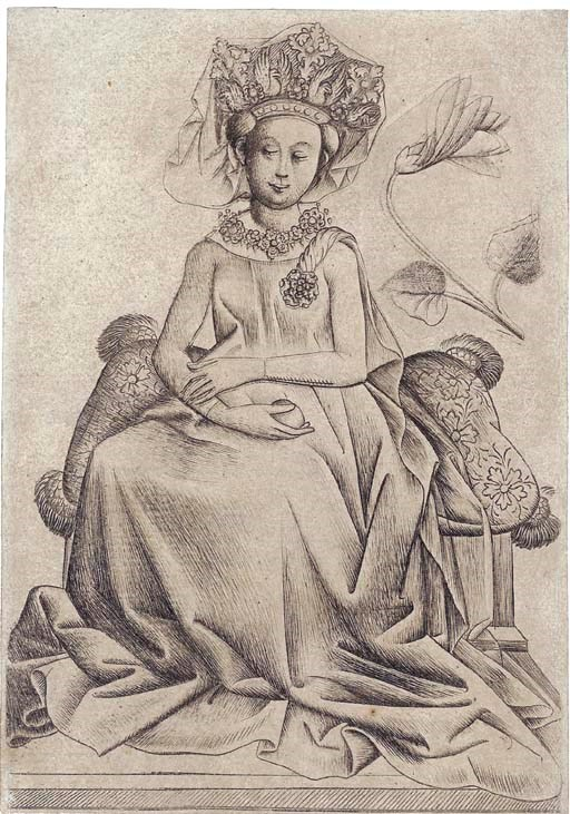 The Master of the Playing Cards (active circa 1435-55), The Queen of Flowers B (Geisberg 48.51; Lehrs 49), c. 1435-40. Engraving printed from two plates on laid paper. Sheet 130 x 91 mm. Sold for £243,200 on 20-21 September 2006 at Christie's in London