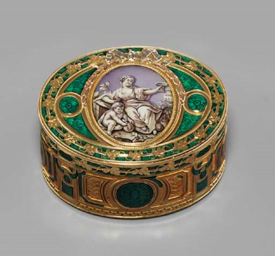 A LOUIS XV ENAMELLED GOLD SNUF