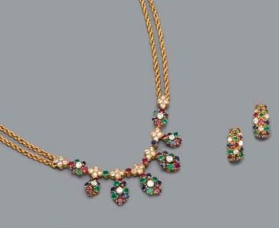 A DIAMOND AND GEM-SET NECKLACE