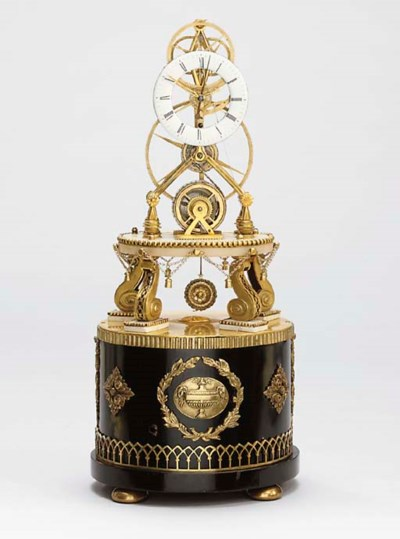 A French marble, ormolu and eb