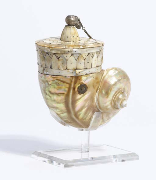 A SILVER-MOUNTED, MOTHER-OF-PEARL-VENEERED TURBO SHELL POWDER FLASK