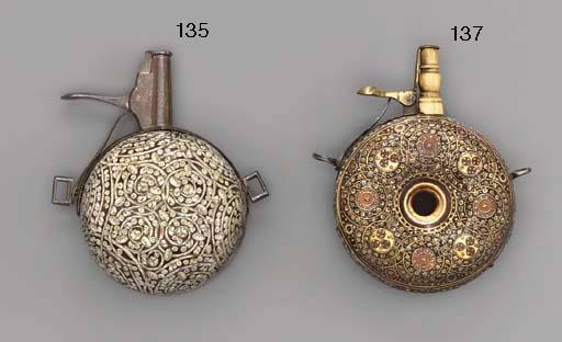A GERMAN INLAID CIRCULAR PEARWOOD POWDER-FLASK
