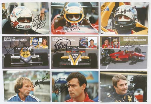 Racing drivers - cockpit close-up studies; a group of colour photographs of leading personalities, signed by drivers including Nigel Mansell, Jacques Laffitte, Elio de Angelis, Keke Rosberg and others; plus unsigned colour post-card sized prints of Alain Prost, Rene Arnoux and Niki Lauda.