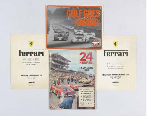 Le Mans 24 Hours - June 1967; a rare original programme for the event; large-format with colour illustration to front and with insert for Ferrari Maranello Concessionnaires sales leaflets for 365GT, 330Coupe, 330+2, Spyder & 365 GTB Berlinetta, 265GT2+2, 330GTC, 330GTS, and 275GTB; and with Gulf Racing 1970 promotional booklet testing Ford GT40, Porsche etc.  (4)