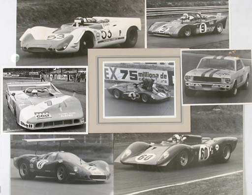 WSCC, Sports Cars and other groups;  a quantity of enlarged photographic prints depicting action-studies and others including Le Mans, Silverstone, Nürburgring etc; including Porsche, Lola, Alfa-Romeo, Ferrari, Matra, Ford, BRM and McLaren; one of the 1967 Le Mans winners Foyt and Gurney, signed by both; one signed by Jackie Stewart & two others.