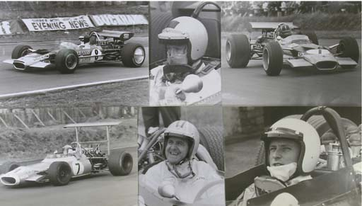 Grand Prix and other motor racing photographs 1950s-1970s; a good group of supersize enlarged monotone photographs depicting action-studies and close-ups of various drivers including Jim Clark, Graham Hill, Jochen Rindt, Jackie Stewart, Denny Hulme, Bruce MacLaren, Ronnie Petersen and John Surtees; also including Mike Hawthorn, Ken McAlpine and Roy Salvadori British GP 1955 and others. Mostly 10x14ins.
