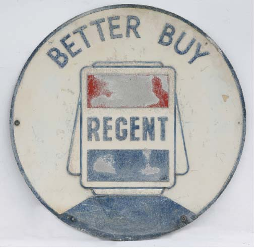 Regent - A large pre-war forecourt advertising sign; depicting petrol-pump globe motif; embossed relief design, circular format; some fading and wear; c.1930s-1940s. 36in (91cm) diameter.
