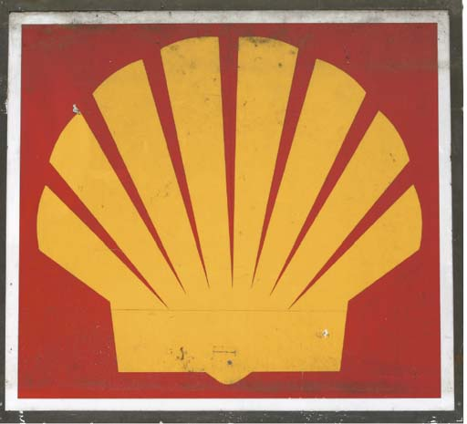 Shell - A pair of large post-war forecourt advertising signs; distinctive logo motif on white ground; c.1970s. 66x66ins (168x168cm).  (2)