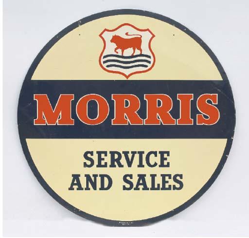 Morris Service & Sales - A large early post-war advertising sign; printed aluminium, circular format; good condition; c.1950s. 36in (91cm) diameter.