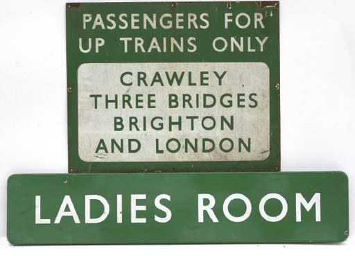 Southern Railway - A group of pre-war enamel station signs; including  'Paddock Wood', 'Ladies Room', 'Gentlemen', 'Passengers for Up Trains', 'No Parking', etc; white lettering on green background. 	 (6)