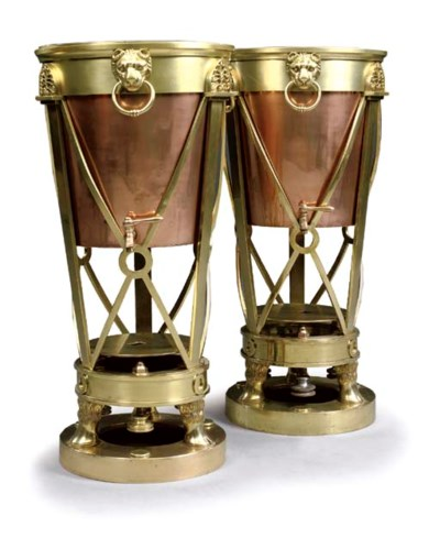 A PAIR OF VICTORIAN BRASS AND