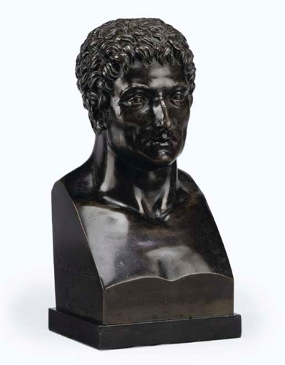 AN EMPIRE BRONZE HERM BUST OF