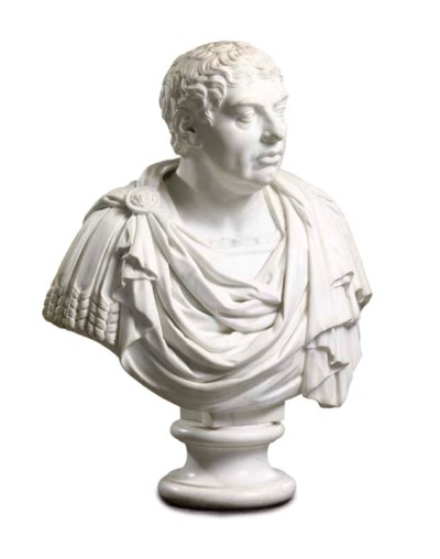 A REGENCY CARVED MARBLE BUST O