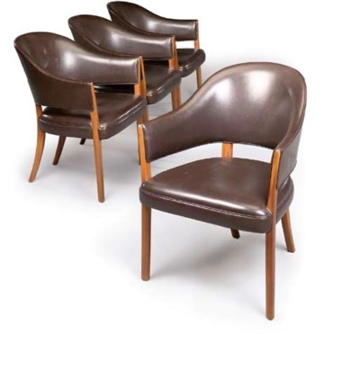 A SET OF FOUR DANISH UPHOLSTER