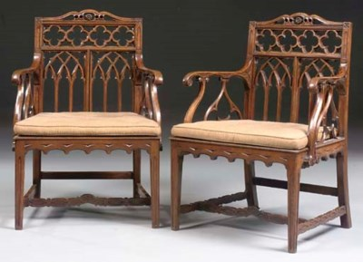 A PAIR OF GEORGE III OAK ARMCH