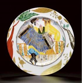 A Soviet porcelain propaganda plate