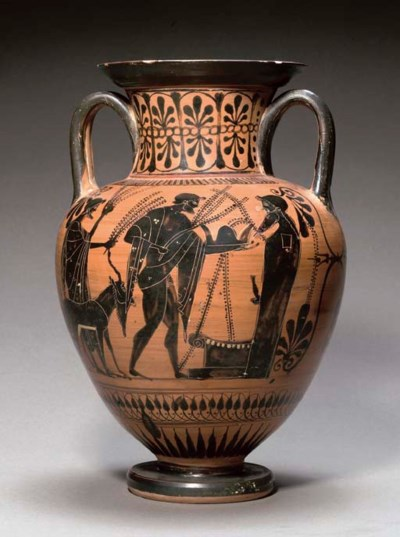 AN ATTIC BLACK FIGURE AMPHORA