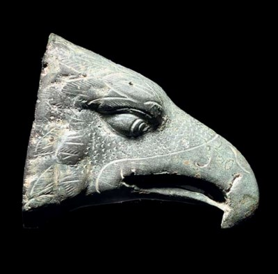 A ROMAN BRONZE EAGLE HEAD FINI