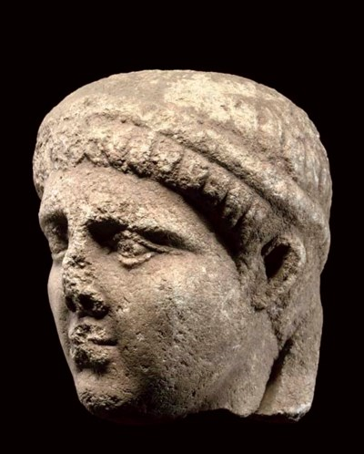 A LATE ROMAN MARBLE MALE PORTR