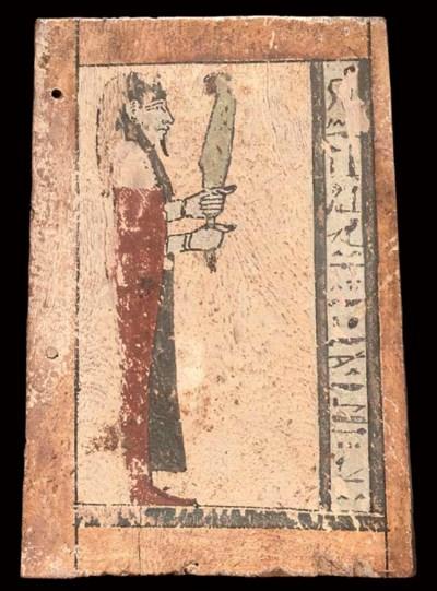 AN EGYPTIAN PAINTED WOOD SHRIN