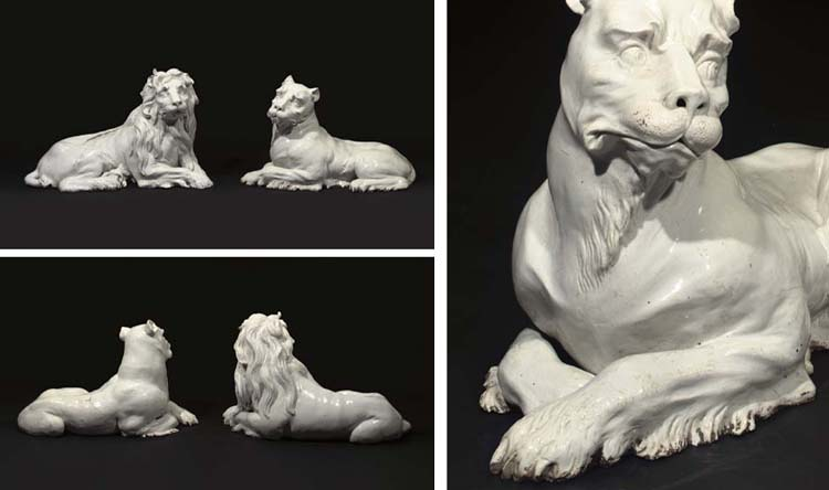 TWO MEISSEN WHITE MODELS OF A LION AND LIONESS