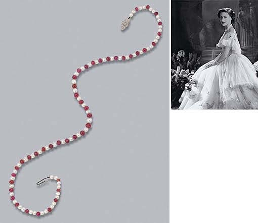 A RUBY, CULTURED PEARL AND DIAMOND NECKLACE