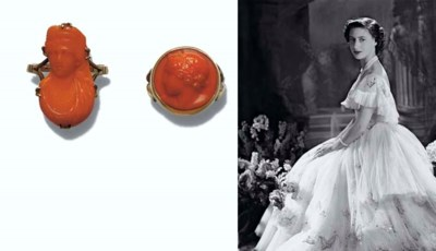 TWO CORAL CAMEO RINGS